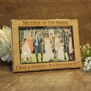 Personalised Mother Father of the Bride Photo Frame Oak Wood Veneer (ls)